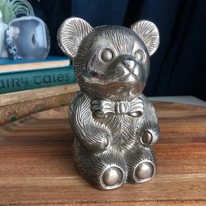 Vintage Silver Plated Teddy Bear Bank